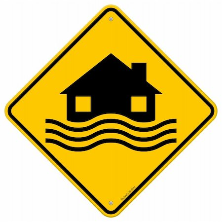 flooded homes - House and waves on yellow sign isolated on white background Stock Photo - Budget Royalty-Free & Subscription, Code: 400-06455177