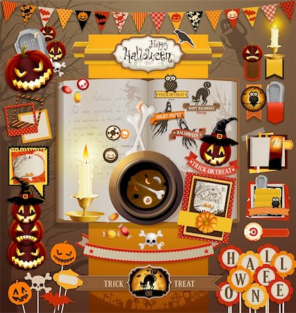 Halloween scrapbook elements. Vector illustration. Stock Photo - Budget Royalty-Free & Subscription, Code: 400-06455266