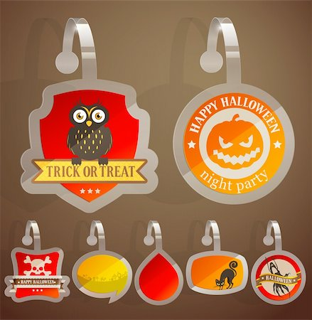 Set of Halloween stickers. Vector illustration. Stock Photo - Budget Royalty-Free & Subscription, Code: 400-06455268