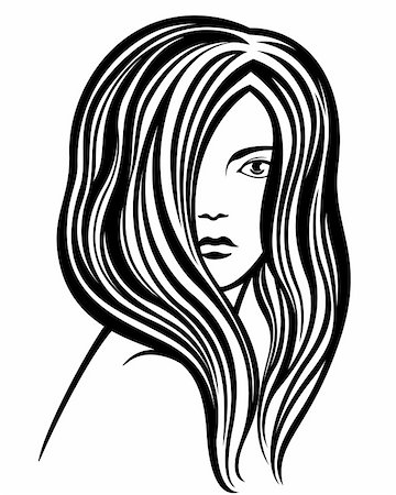 Fashion hand-drawn young woman'?s portrait line-art illustration Stock Photo - Budget Royalty-Free & Subscription, Code: 400-06455681