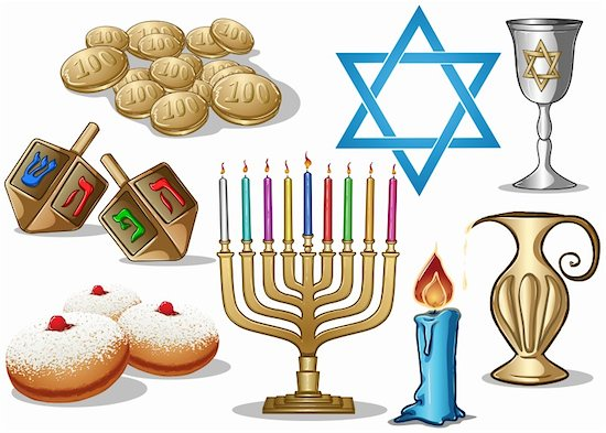 A pack of Vector illustrations of famous symbols for the Jewish Holiday Hanukkah. Stock Photo - Royalty-Free, Artist: LironPeer, Image code: 400-06455997