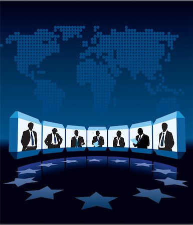 Group businesspeople having videoconference, a large world map in the background Stock Photo - Budget Royalty-Free & Subscription, Code: 400-06456032