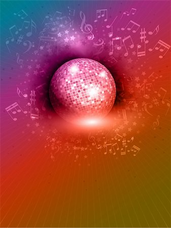 Abstract mirror ball background with music notes and rainbow colours Stock Photo - Budget Royalty-Free & Subscription, Code: 400-06456310