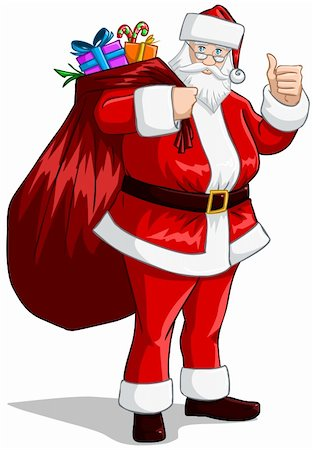 A vector illustration of Santa Claus holding a huge bag full of presents for Christmas. Stock Photo - Budget Royalty-Free & Subscription, Code: 400-06457152