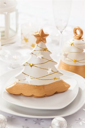 Festive table for Christmas in white and golden tones Stock Photo - Budget Royalty-Free & Subscription, Code: 400-06457285