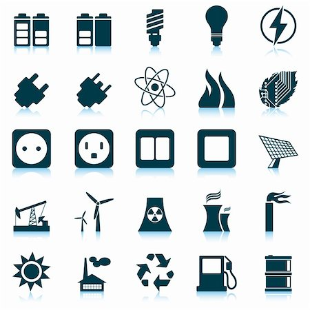 sparks illustration - Electricity, power and energy icon set. Vector illustration. Stock Photo - Budget Royalty-Free & Subscription, Code: 400-06453274