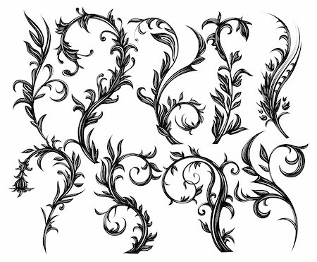 filigree - Set of floral design elements isolated on white Stock Photo - Budget Royalty-Free & Subscription, Code: 400-06453281