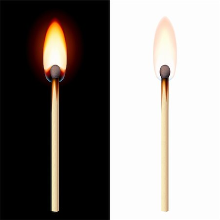 Realistic burning match on white and black background. Stock Photo - Budget Royalty-Free & Subscription, Code: 400-06453423