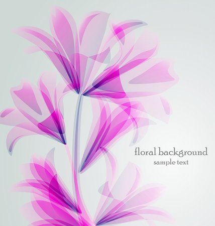 Lily flower abstract vector background, greeting card template Stock Photo - Budget Royalty-Free & Subscription, Code: 400-06453752