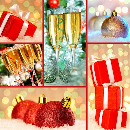 simsearch:400-05749231,k - Collection of Christmas gifts, decorative toy balls and flutes with champagne Stock Photo - Budget Royalty-Free & Subscription, Code: 400-06461377