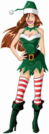 A vector illustration of a woman dressed in sexy elf clothes for Christmas. Stock Photo - Budget Royalty-Free & Subscription, Code: 400-06463885