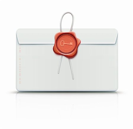 Vector illustration of close detailed post envelope with red old-fashioned wax seal. Use with included key design, or substitute your own initials or insignia. Foto de stock - Super Valor sin royalties y Suscripción, Código: 400-06475716