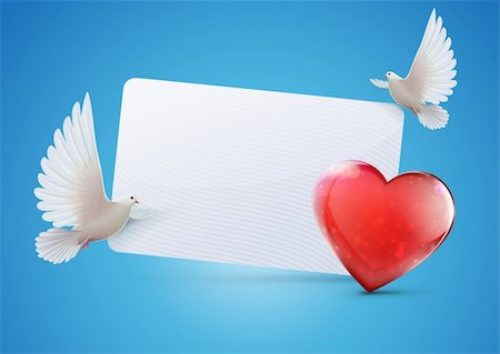 fly heart - Vector illustration of greeting card with two beautiful shiny white doves and heart shape Stock Photo - Budget Royalty-Free & Subscription, Code: 400-06475713