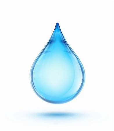 Vector illustration of a single blue shiny water drop Stock Photo - Budget Royalty-Free & Subscription, Code: 400-06475722