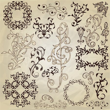 vector  floral pattern design elements on crumpled paper texture, fully editable eps 10 file Stock Photo - Budget Royalty-Free & Subscription, Code: 400-06477800