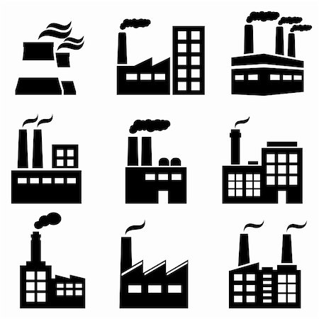 soleilc (artist) - Industrial building, factory and power plants icon set Stock Photo - Budget Royalty-Free & Subscription, Code: 400-06477963