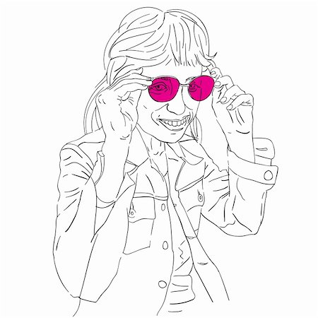 Hand drawn funny girl with pink sunglasses, doodle isolated on white Stock Photo - Budget Royalty-Free & Subscription, Code: 400-06478209