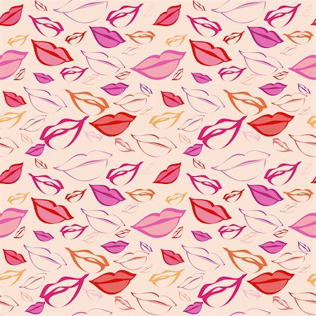 simsearch:400-04597082,k - Seamless texture with a lot of color lips prints. Stock Photo - Budget Royalty-Free & Subscription, Code: 400-06471462