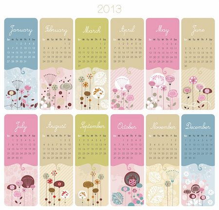 florist vector - 2013 Calendar set with vertical banners or cards Stock Photo - Budget Royalty-Free & Subscription, Code: 400-06472046