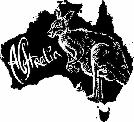 Kangaroo on map of Australia. Black and white vector illustration. Stock Photo - Budget Royalty-Free & Subscription, Code: 400-06472146