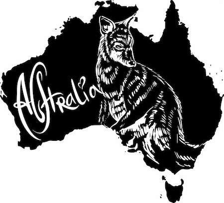 Wallaby on map of Australia. Black and white vector illustration. Stock Photo - Budget Royalty-Free & Subscription, Code: 400-06472157