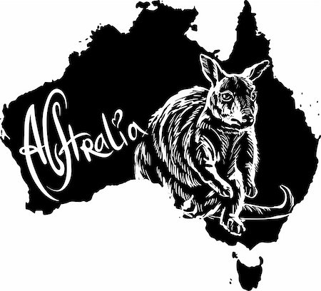 Wallaby on map of Australia. Black and white vector illustration. Stock Photo - Budget Royalty-Free & Subscription, Code: 400-06472158