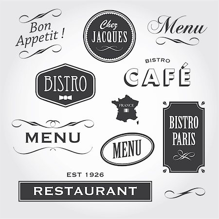 Set of french vintage ornaments, badges, banners, labels, signs bistro café restaurant Stock Photo - Budget Royalty-Free & Subscription, Code: 400-06472869