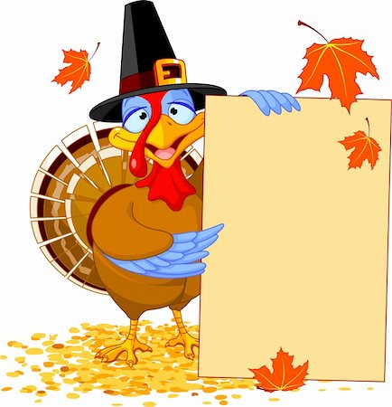 Thanksgiving Turkey holding Holiday Note Stock Photo - Budget Royalty-Free & Subscription, Code: 400-06472959