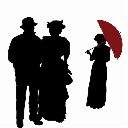 Vintage people silhouettes on white background, vector illustration Stock Photo - Budget Royalty-Free & Subscription, Code: 400-06473458