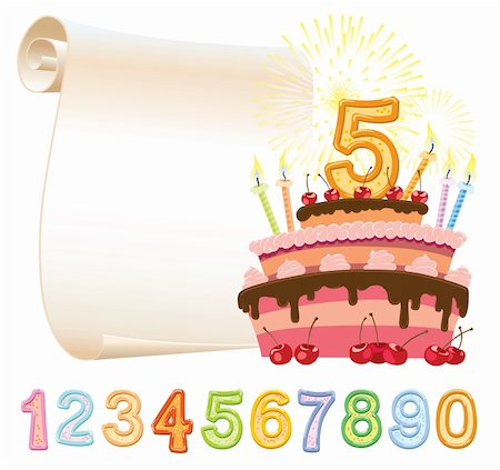 Colorful birthday cake over sheet of paper Stock Photo - Budget Royalty-Free & Subscription, Code: 400-06473824