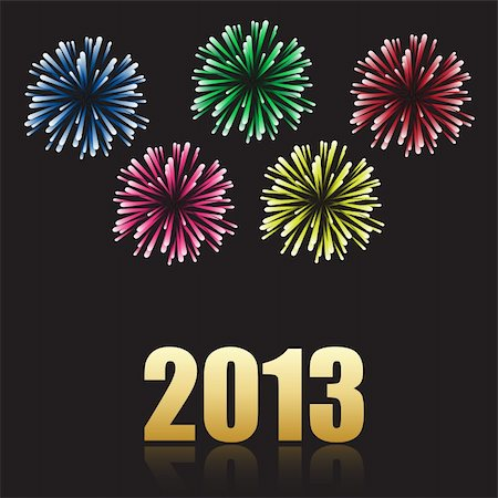 fireworks vector art - 2013 new year celebration with fireworks Stock Photo - Budget Royalty-Free & Subscription, Code: 400-06473873