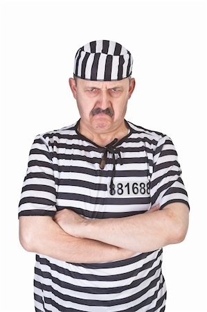 portrait of a angry prisoner over white background Stock Photo - Budget Royalty-Free & Subscription, Code: 400-06484836