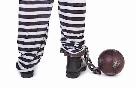 prisoner's legs and ball and chain on white, view from behind Stock Photo - Budget Royalty-Free & Subscription, Code: 400-06484843