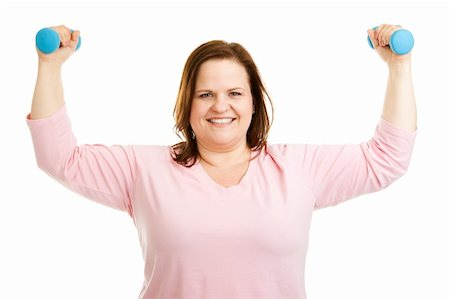 Beautiful, healthy plus-size woman working out with hand weights.  Isolated on white. Stock Photo - Budget Royalty-Free & Subscription, Code: 400-06484904