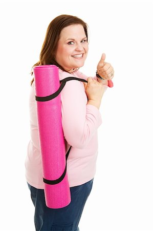 Pretty, overweight woman going to work out with her yoga mat.  Isolated on white. Stock Photo - Budget Royalty-Free & Subscription, Code: 400-06484911