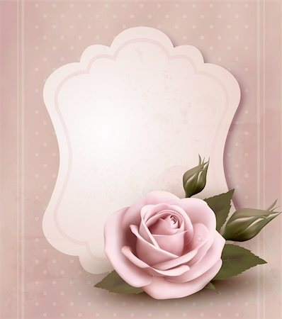 Retro greeting card with pink rose. Vector illustration. Stock Photo - Budget Royalty-Free & Subscription, Code: 400-06485073