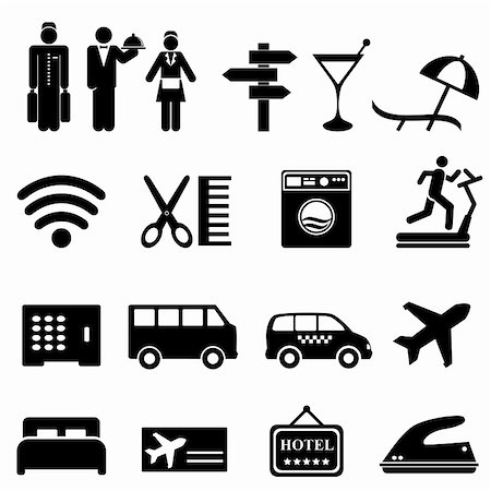 soleilc (artist) - Hotel symbols icon set in black Stock Photo - Budget Royalty-Free & Subscription, Code: 400-06481895