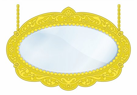Illustration of a fancy boutique mirror with gold frame and lots of copy-space in the centre Stock Photo - Budget Royalty-Free & Subscription, Code: 400-06482361