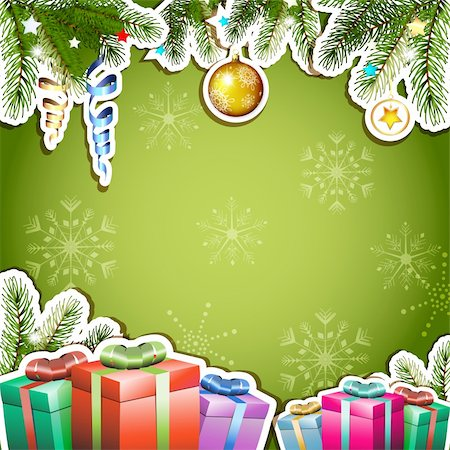 Green background with Christmas gifts and ball Stock Photo - Budget Royalty-Free & Subscription, Code: 400-06514642