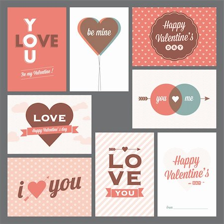 8 elegant and trendy happy valentine's day and weeding cards Stock Photo - Budget Royalty-Free & Subscription, Code: 400-06515683