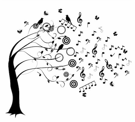 vector tree with musical notes Stock Photo - Budget Royalty-Free & Subscription, Code: 400-06515922