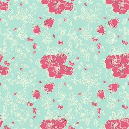 Seamless Rose Pattern in Blue background Stock Photo - Budget Royalty-Free & Subscription, Code: 400-06516095