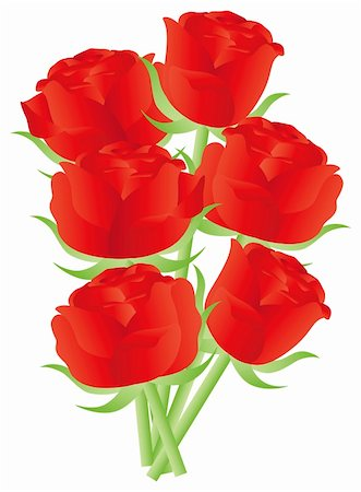 dozen roses - Red Roses Flower Bouquet for Valentines Day Anniversary or Special Occasion Illustration Isolated on White Background Stock Photo - Budget Royalty-Free & Subscription, Code: 400-06517450