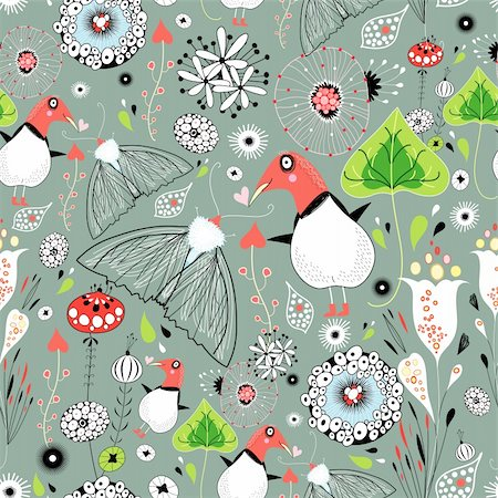Seamless pattern from plants birds and butterflies on a green background Stock Photo - Budget Royalty-Free & Subscription, Code: 400-06518548
