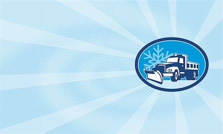 snow plow truck - Illustration of a snow plow truck plowing with winter snow flakes in background set inside circle done in retro style. Stock Photo - Budget Royalty-Free & Subscription, Code: 400-06519809