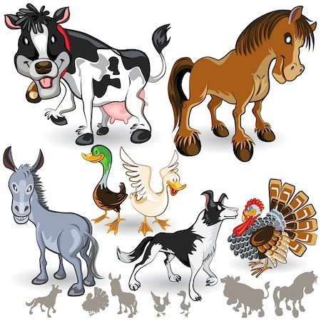 An Illustration of Farm Animals Collection Set.  Useful As Icon, Illustration And Background For Farming  Theme. Stock Photo - Budget Royalty-Free & Subscription, Code: 400-06519862