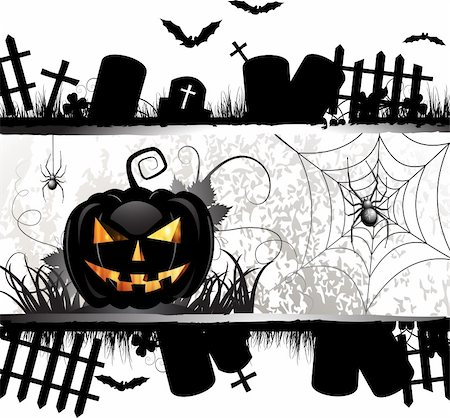 Halloween card design with pumpkin and ghost house Stock Photo - Budget Royalty-Free & Subscription, Code: 400-06513202