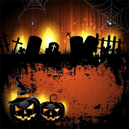 Halloween background with cemetery and pumpkin Stock Photo - Budget Royalty-Free & Subscription, Code: 400-06513214