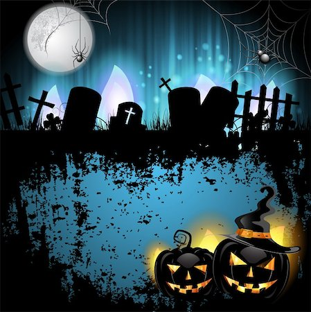 Halloween background with cemetery and pumpkin Stock Photo - Budget Royalty-Free & Subscription, Code: 400-06513215