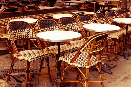Street view of a coffee terrace with tables and chairs,paris France Stock Photo - Budget Royalty-Free & Subscription, Code: 400-06513226